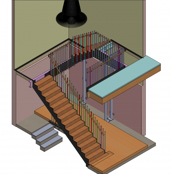 STAIRS ASSEMBLY- 76 BOWEN CRESCENT, PRINCESS HILL - CONCEPT BUILD - 02-16 (R-G)
